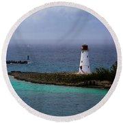 Nassau Harbor Lighthouse Round Beach Towel
