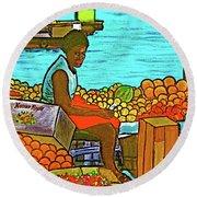 Nassau Fruit Seller At Waterside Round Beach Towel