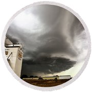 Nasty Looking Cumulonimbus Cloud Behind Grain Elevator Round Beach Towel
