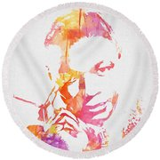 Nat King Cole Watercolor Round Beach Towel
