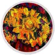 Natalie Holland Sunflowers Round Beach Towel