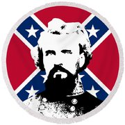 Nathan Bedford Forrest And The Rebel Flag Round Beach Towel by War Is Hell Store
