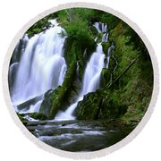 National Creek Falls 02 Round Beach Towel