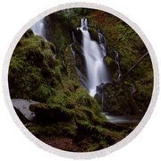 National Creek Falls 04 Round Beach Towel
