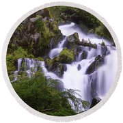 National Creek Falls 05 Round Beach Towel
