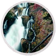 National Creek Falls 07 Round Beach Towel