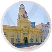 National History Museum On Plaza De Armas In Santiago-chile Round Beach Towel