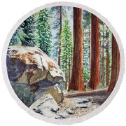 National Park Sequoia Round Beach Towel