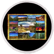 National Parks Of The West Round Beach Towel