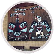 Native Alaskan Mural Round Beach Towel