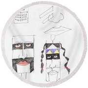 Native Ameican Hills Round Beach Towel