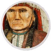 Native American Chief With Pipe Round Beach Towel