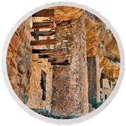 Native American Cliff Dwellings Round Beach Towel