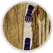 Native American Great Plains Indian Clothing Artwork Vertical 06 Round Beach Towel