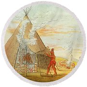Native American Indian Sweat Lodge Round Beach Towel by Science Source