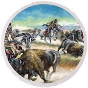 Native American Indians Killing American Bison Round Beach Towel