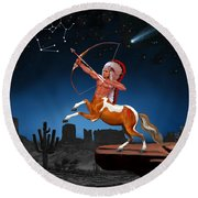 Native American Sagittarius Round Beach Towel