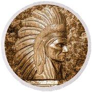 Native American Statue Copper  Round Beach Towel