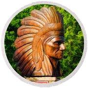 Native American Statue Round Beach Towel