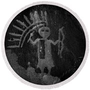 Native American Warrior Petroglyph On Sandstone Round Beach Towel