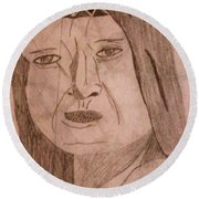 Native American Woman Round Beach Towel