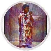 Native American - Young Girl Standing In Doorway Round Beach Towel
