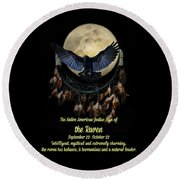 Native American Zodiac Sign Of The Raven Round Beach Towel