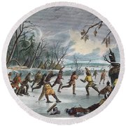 Native Americans: Ball Play, 1855 Round Beach Towel