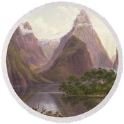 Native Figures In A Canoe At Milford Sound Round Beach Towel