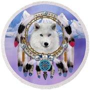 Native Indian Wolf Spirit Round Beach Towel