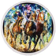 Native Raiser - Palette Knife Oil Painting On Canvas By Leonid Afremov Round Beach Towel