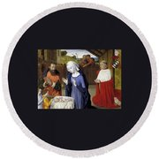 Nativity - Master Of Moulins Round Beach Towel