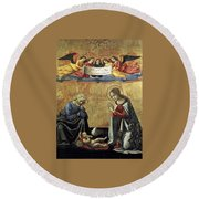 Nativity By Domenico Ghirlandaio Round Beach Towel