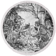 Nativity Round Beach Towel by Rembrandt