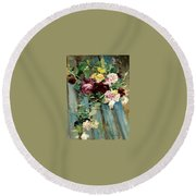 Natura Morta Con Rose Giovanni Boldini Round Beach Towel