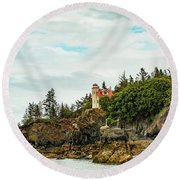 Natural Arch At Lighthouse Point Round Beach Towel