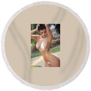 Natural Breast Enlargement Round Beach Towel