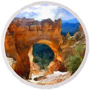 Natural Bridge Arch In Bryce Canyon National Park Round Beach Towel