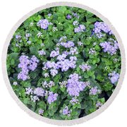 Natural Bush With Purple Small Flowers. Round Beach Towel