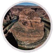 Natural Horseshoe Bend Arizona  Round Beach Towel