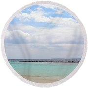 Natural Landscape With The Ocean From An Island In Maldives Round Beach Towel