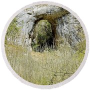 Natural Limestone Arch At Dove Valley Round Beach Towel