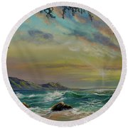Natural Mystic Round Beach Towel
