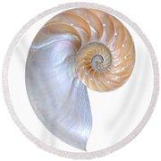 Natural Nautilus On White Vertical Round Beach Towel