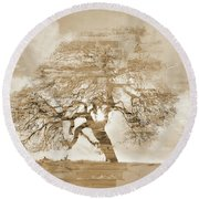 Natural Tree Round Beach Towel