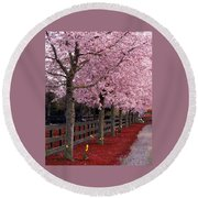 Nature - Pink Trees Round Beach Towel