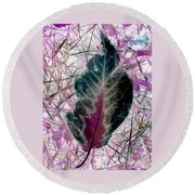 Nature Abstract Of Leaf And Grass Round Beach Towel