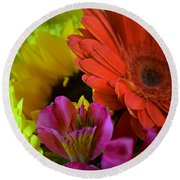 Nature Colorful Bouquet Round Beach Towel
