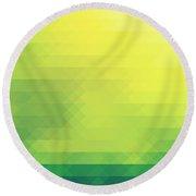 Nature Green Theme In Diamonds Pattern Round Beach Towel