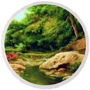 Nature Is Beautiful Impressionism Round Beach Towel